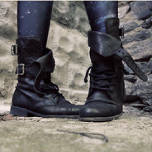03d6917af7ca28 All Saints Shoes - ALLSAINTS Damisi Black Leather Buckle Combat Boots